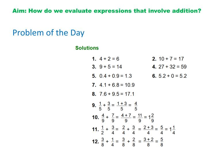 Aim how do we evaluate expressions that involve addition1