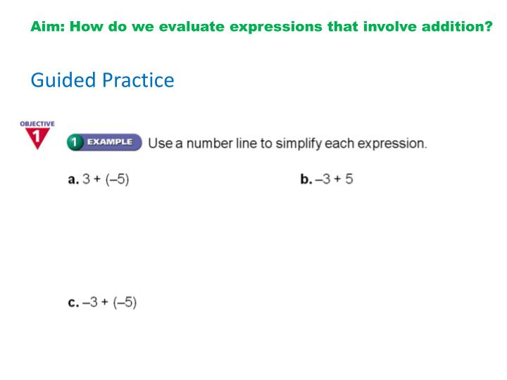 Aim: How do we evaluate expressions that involve addition?