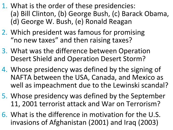 What is the order of these presidencies: