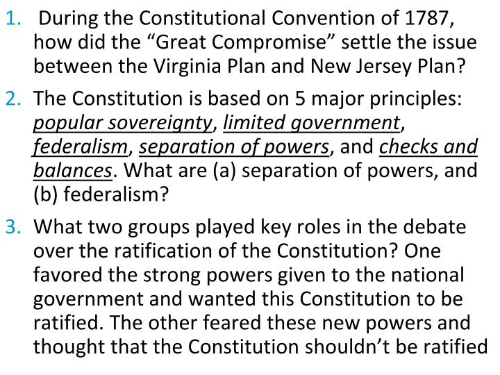 """During the Constitutional Convention of 1787, how did the """"Great Compromise"""" settle the issue between the Virginia Plan and New Jersey Plan?"""