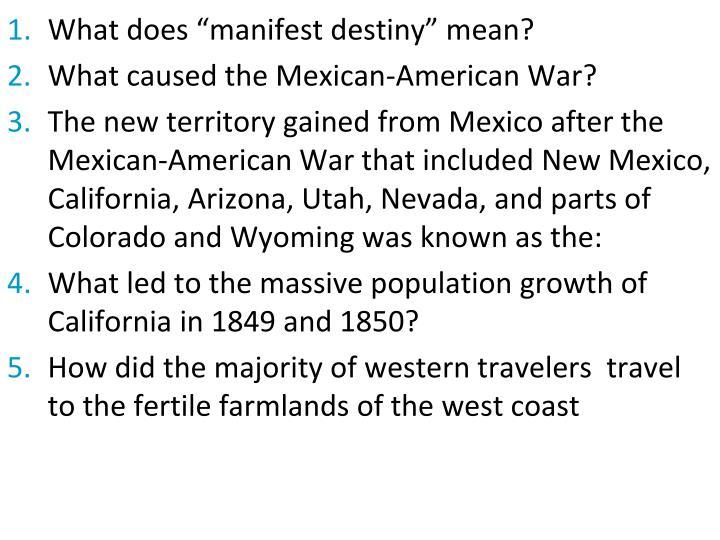 "What does ""manifest destiny"" mean?"