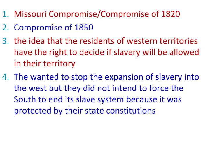 Missouri Compromise/Compromise of 1820