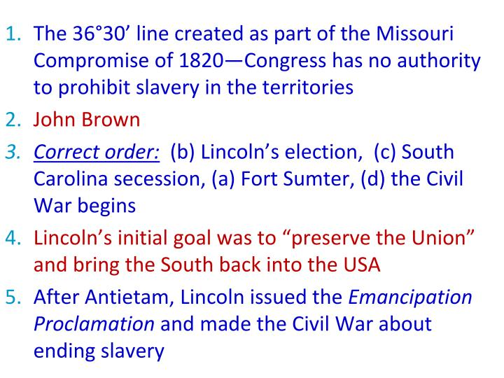 The 36°30' line created as part of the Missouri Compromise of 1820—Congress has no authority to prohibit slavery in the territories