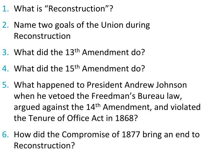 """What is """"Reconstruction""""?"""