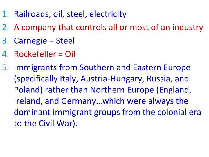 Railroads, oil, steel, electricity