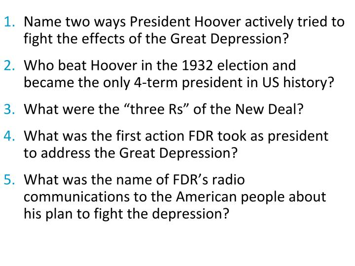 Name two ways President Hoover actively tried to fight the effects of the Great Depression?