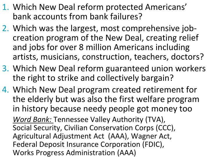 Which New Deal reform protected Americans' bank accounts from bank failures?