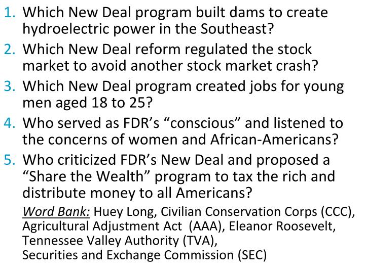 Which New Deal program built dams to create hydroelectric power in the Southeast?