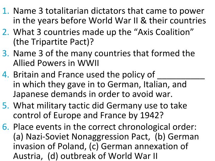 Name 3 totalitarian dictators that came to power in the years before World War II & their countries