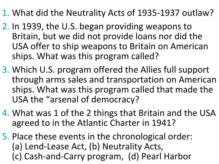 What did the Neutrality Acts of 1935-1937 outlaw?