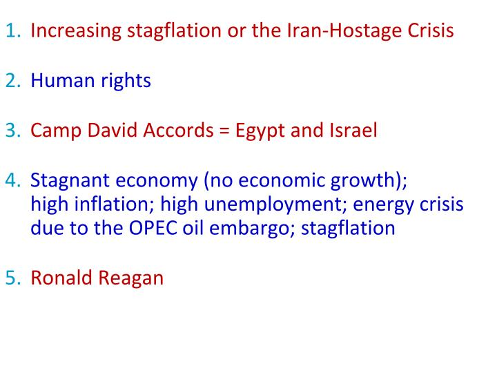 Increasing stagflation or the Iran-Hostage Crisis