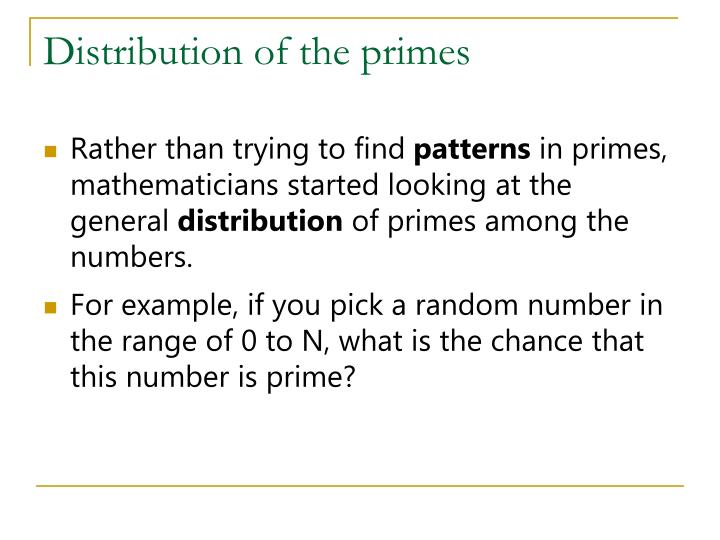Distribution of the primes