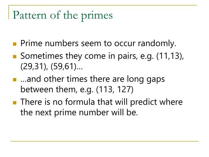 Pattern of the primes