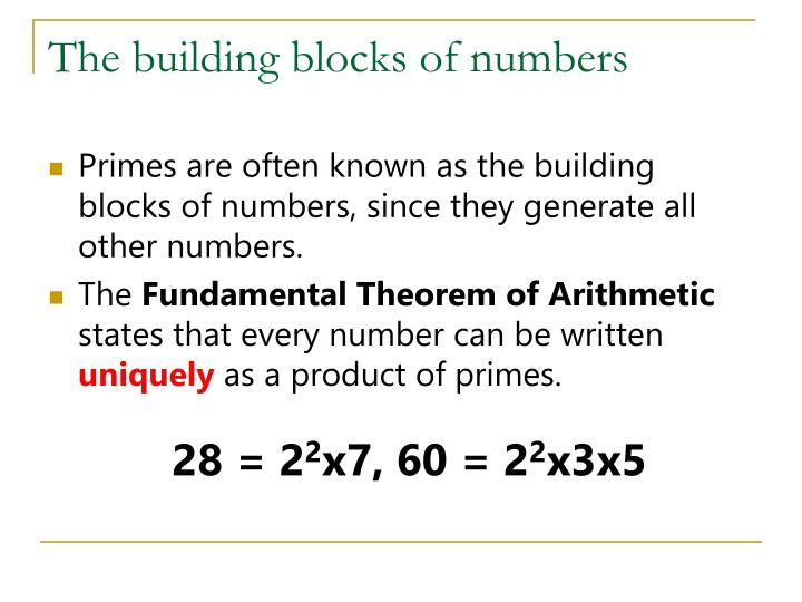 The building blocks of numbers