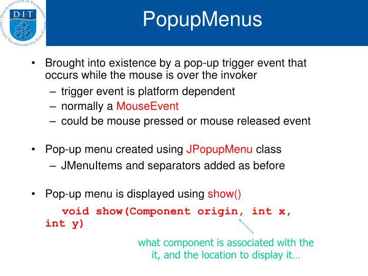 PopupMenus