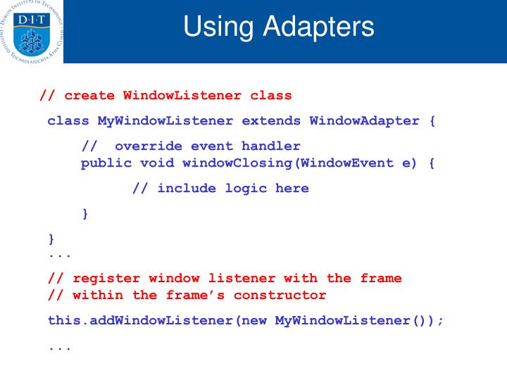 Using Adapters