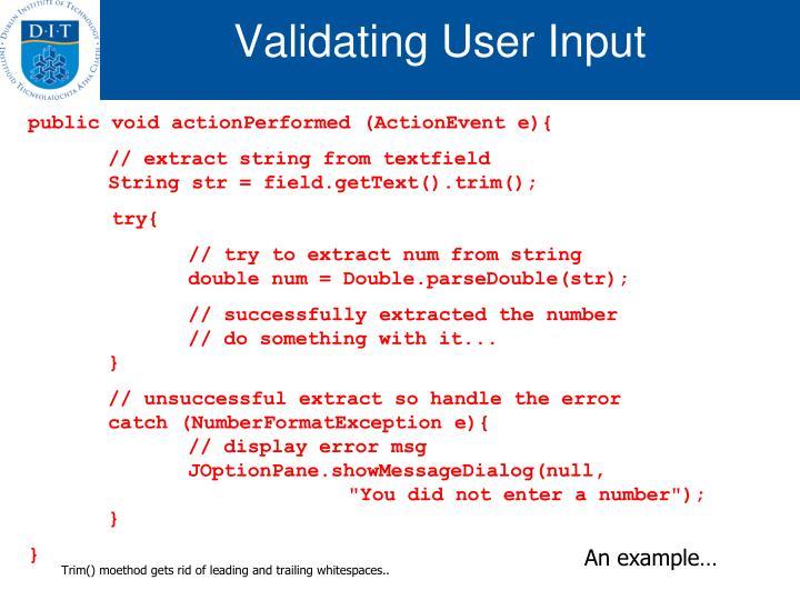 Validating User Input