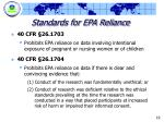 standards for epa reliance