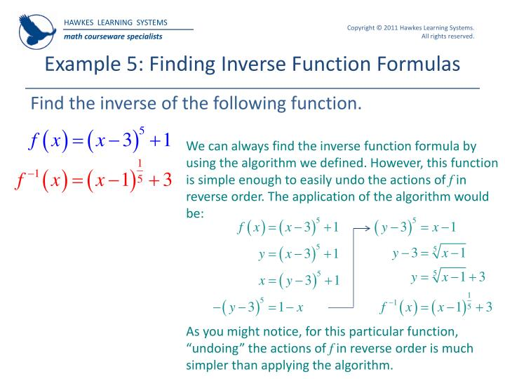 Example 5: Finding Inverse Function Formulas