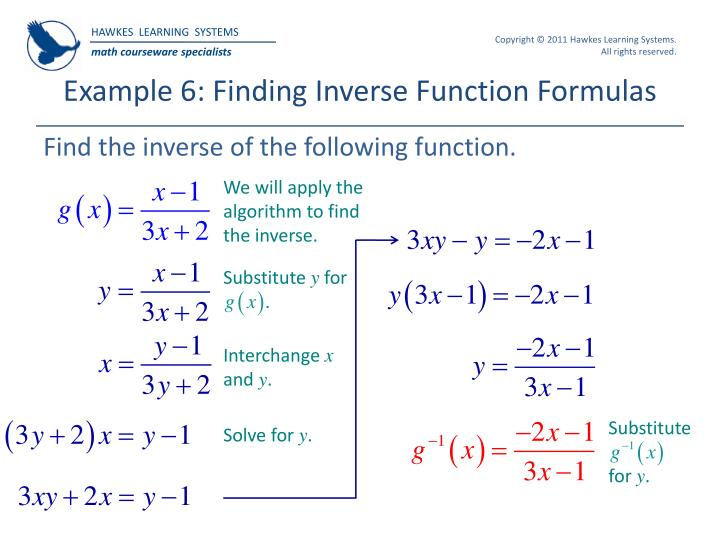 Example 6: Finding Inverse Function Formulas