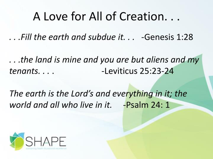 A Love for All of Creation. . .
