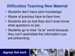 difficulties teaching new material
