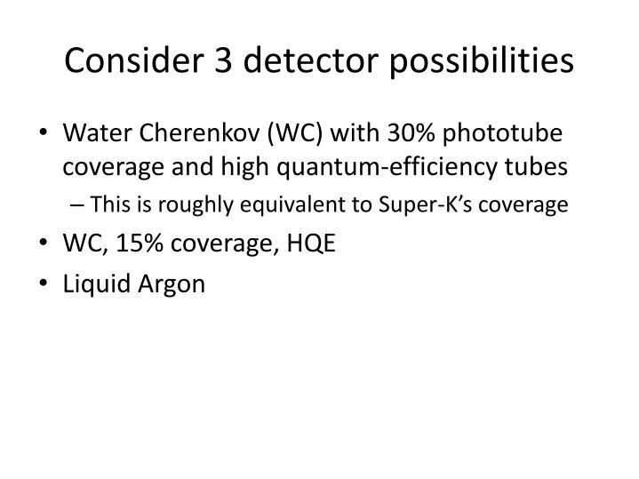 Consider 3 detector possibilities