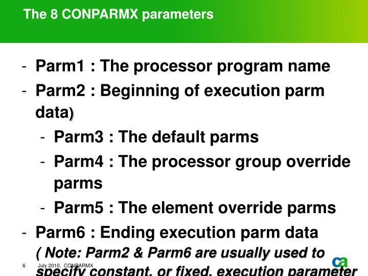 The 8 CONPARMX parameters