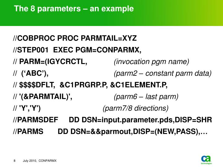 The 8 parameters – an example