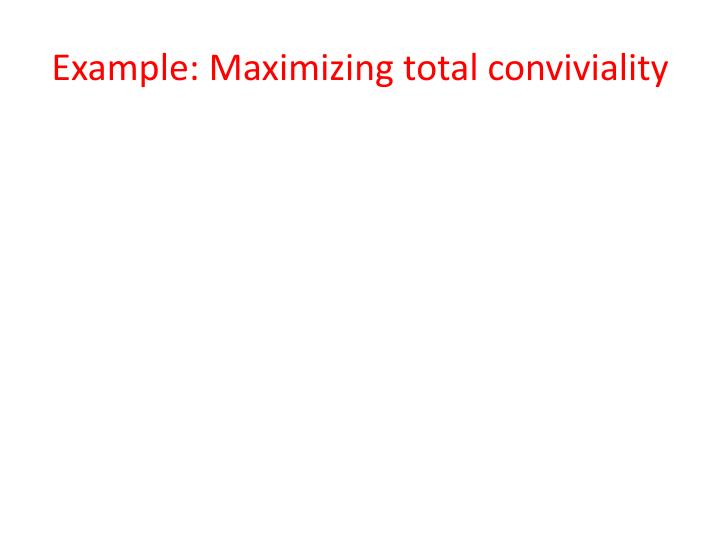 Example: Maximizing total conviviality