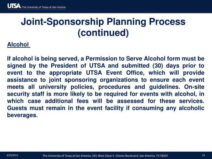 Joint-Sponsorship Planning Process (continued)