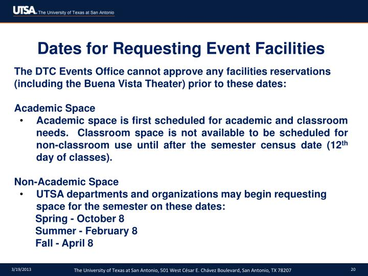 Dates for Requesting Event Facilities