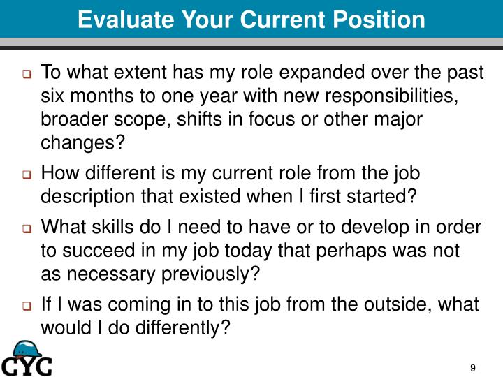 Evaluate Your Current Position
