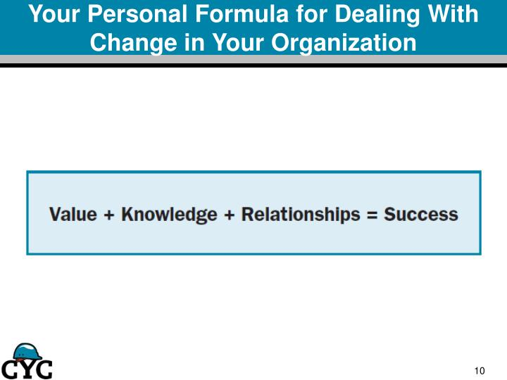 Your Personal Formula for Dealing With Change in Your Organization