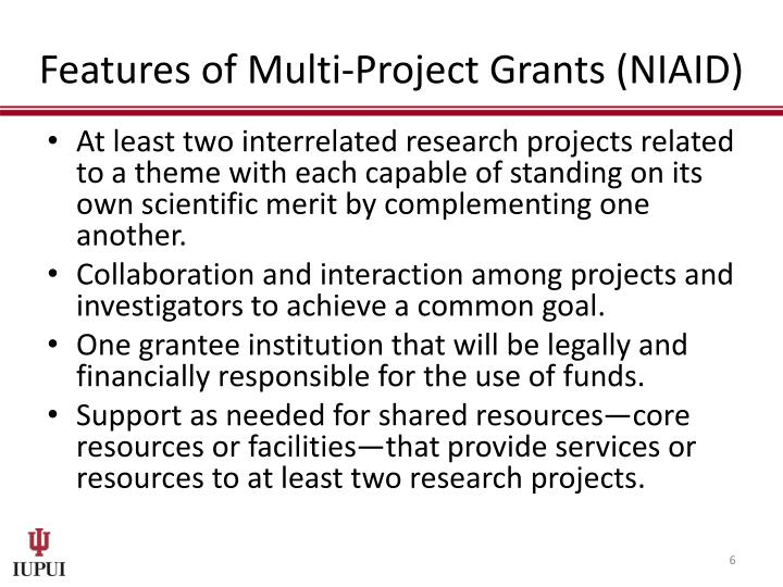 Features of Multi-Project Grants (NIAID)