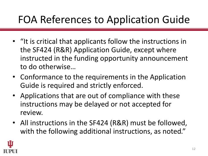 FOA References to Application Guide
