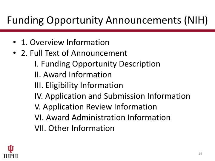 Funding Opportunity Announcements (NIH)