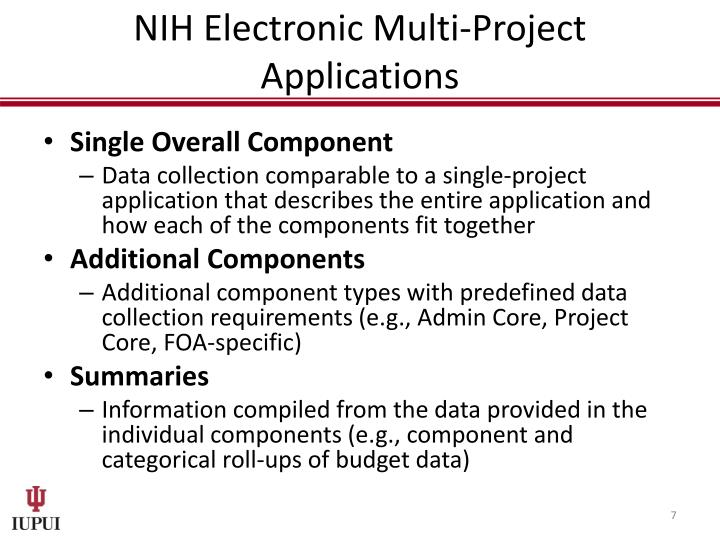 NIH Electronic Multi-Project Applications