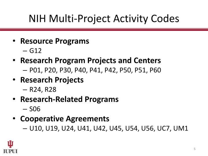 NIH Multi-Project Activity Codes