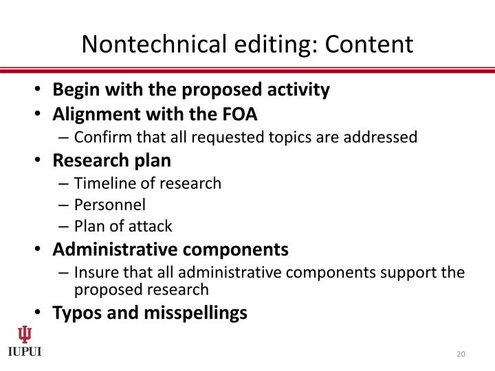 Nontechnical editing: Content