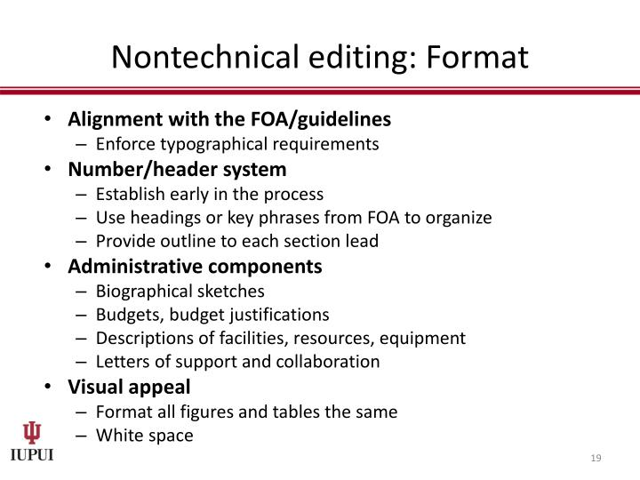 Nontechnical editing: Format