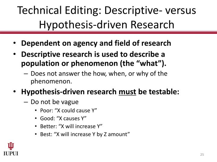 Technical Editing: Descriptive- versus Hypothesis-driven Research