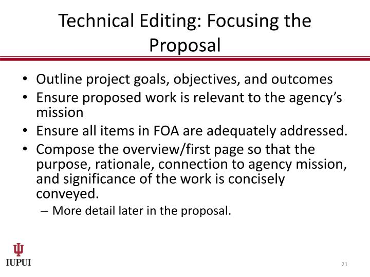 Technical Editing: Focusing the Proposal