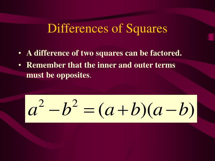 Differences of Squares