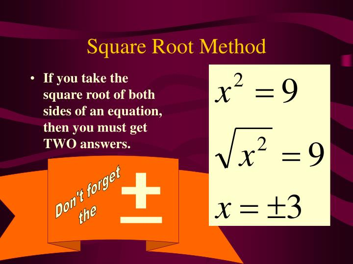 Square Root Method