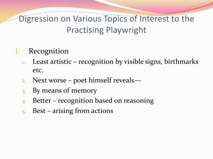 Digression on Various Topics of Interest to the