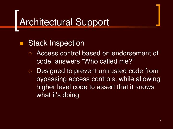 Architectural Support