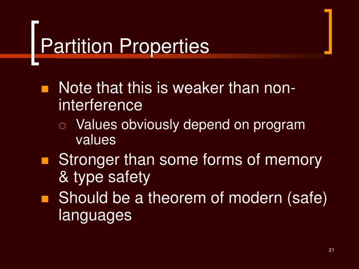Partition Properties
