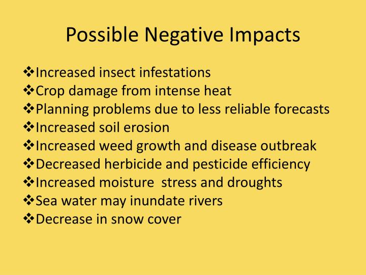 Possible Negative Impacts