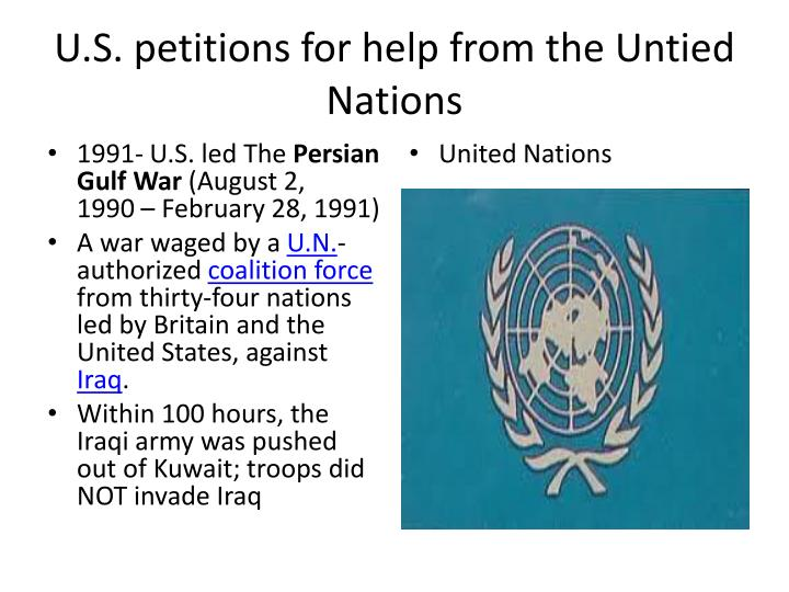 U.S. petitions for help from the Untied Nations